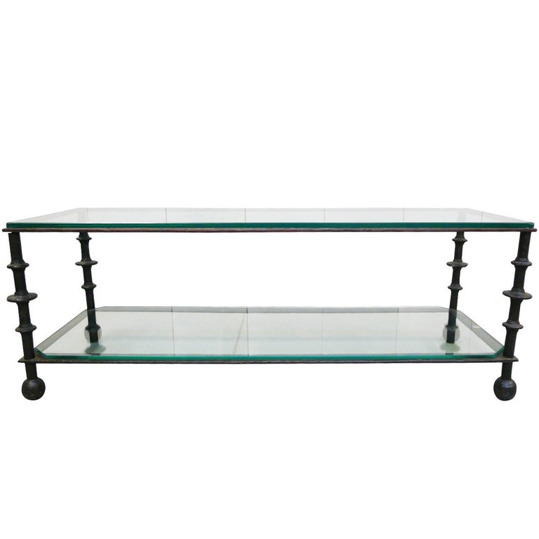 Custom-Designed Iron and Glass Coffee Table in the Manner of Ilana Goor For Sale
