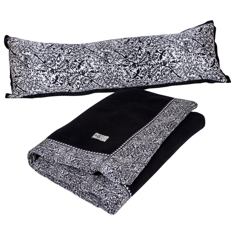 Custom Designed Luxury 100% Merino Wool Emilie King Blanket with Body Pillow