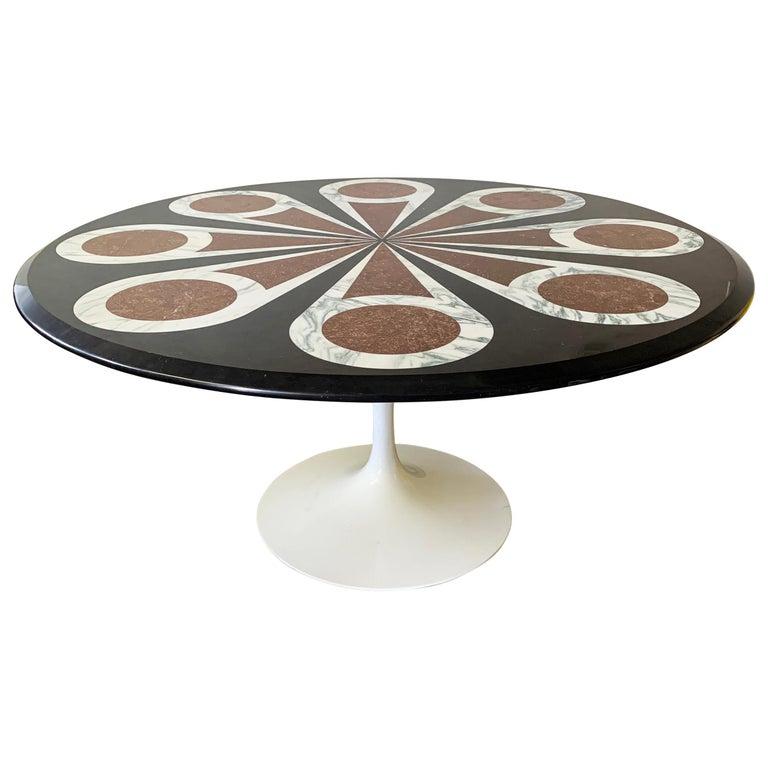 Custom Designed Marble Inlay Knoll Saarinen Dining Table For Sale