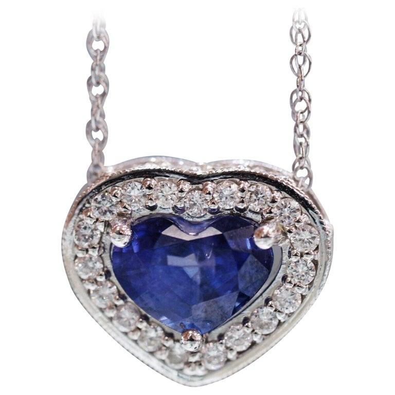 Custom Designed Natural Heart Sapphire and Diamond Pendant Necklace