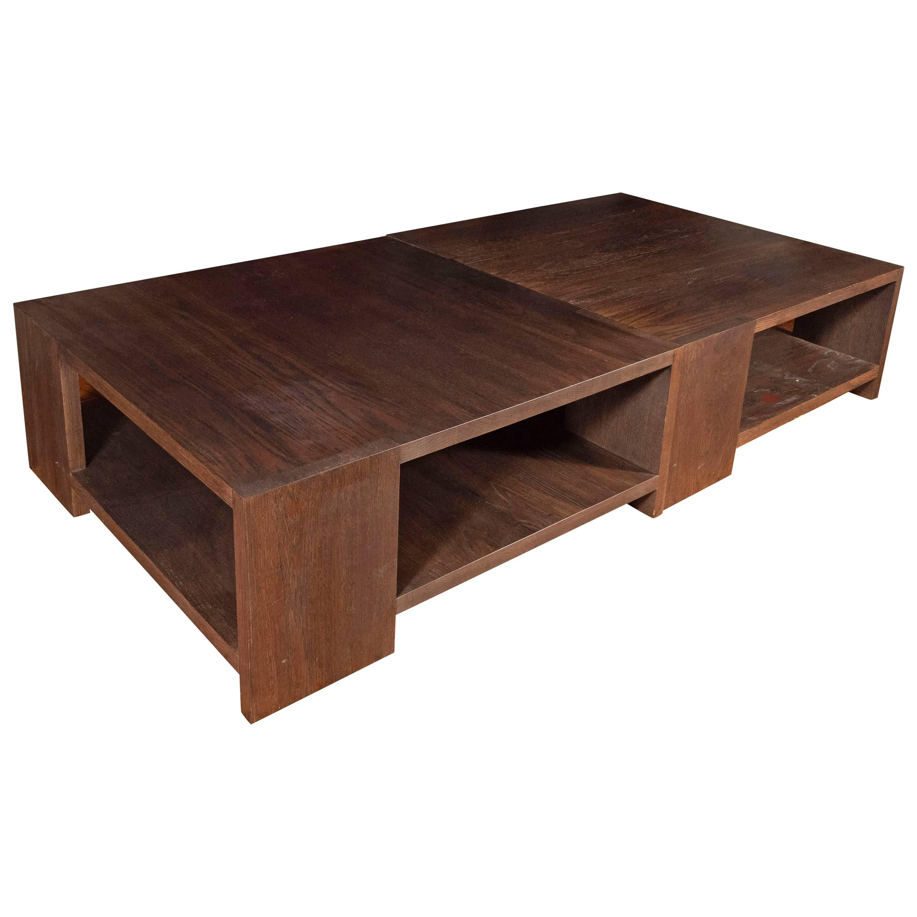 Pair Of Custom Designed Oak Coffee Tables By Richard Ostell Design