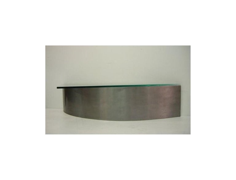 Custom Designed Steel and Glass Coffee Table For Sale 4