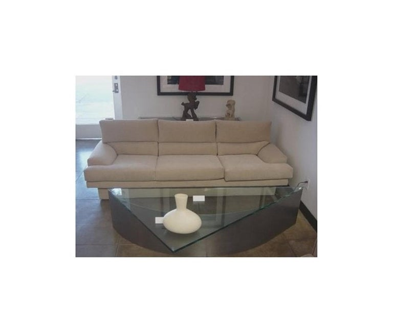 Custom Designed Steel and Glass Coffee Table For Sale 6
