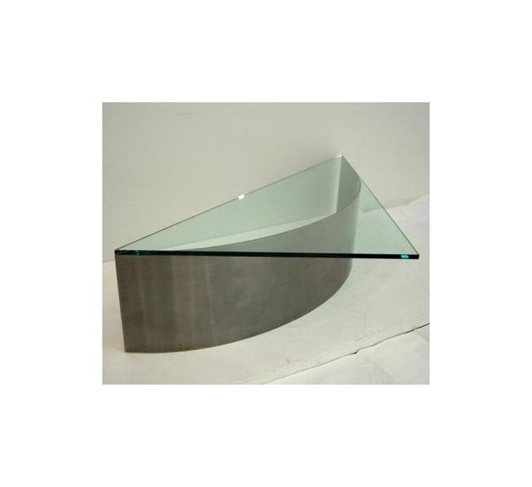 Custom Designed Steel and Glass Coffee Table For Sale 1