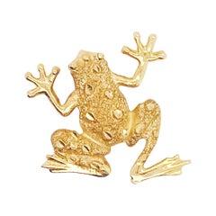 Custom Designer Frog Pendant, 14 Karat Yellow Gold, Made by Five Star Jewelry