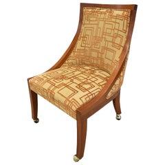 Custom Desk/Vanity Chair in Walnut on Brass Castors, 1990s