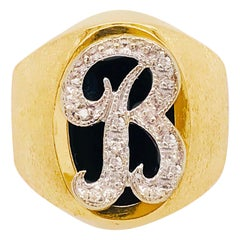 "Initia Diamond ""B"" Signet Ring was Custom-Made w Satin in 14 KT Yellow Gold"