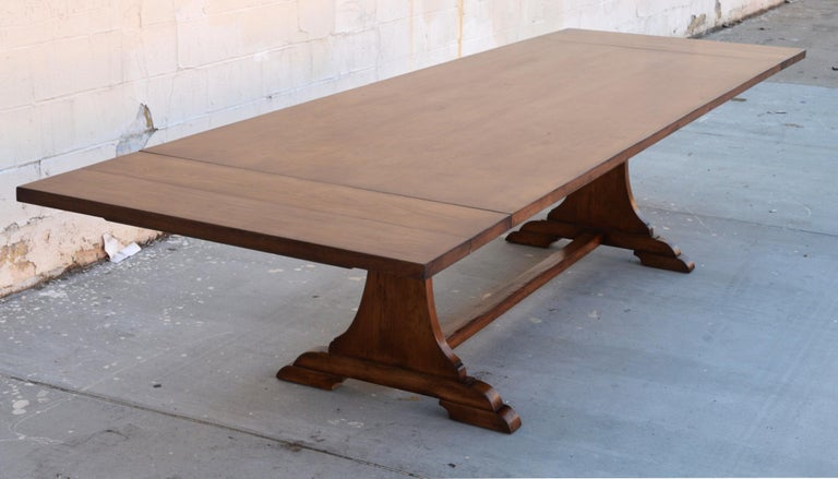Custom Dining Table in Dry Aged Walnut with Extensions by Petersen Antiques For Sale 10
