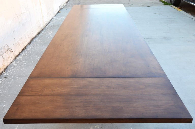 Custom Dining Table in Dry Aged Walnut with Extensions by Petersen Antiques For Sale 6