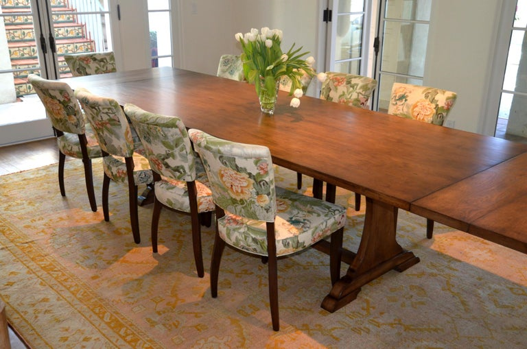 Custom Dining Table in Dry Aged Walnut with Extensions by Petersen Antiques For Sale 12