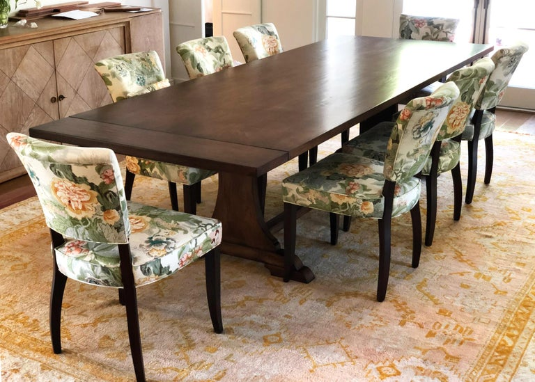Custom Dining Table in Dry Aged Walnut with Extensions by Petersen Antiques For Sale 11