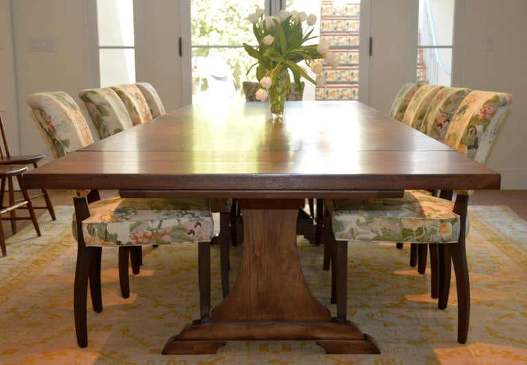 Custom Dining Table in Dry Aged Walnut with Extensions by Petersen Antiques For Sale 13