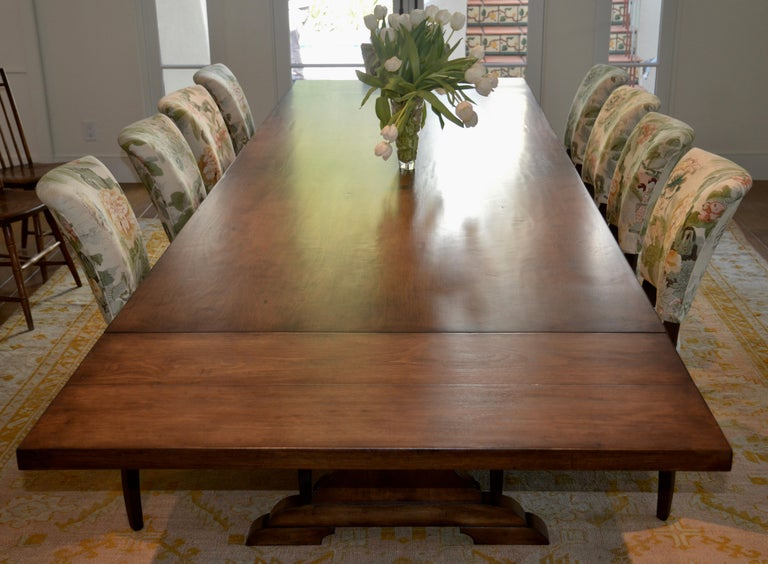 Custom Dining Table in Dry Aged Walnut with Extensions by Petersen Antiques For Sale 14