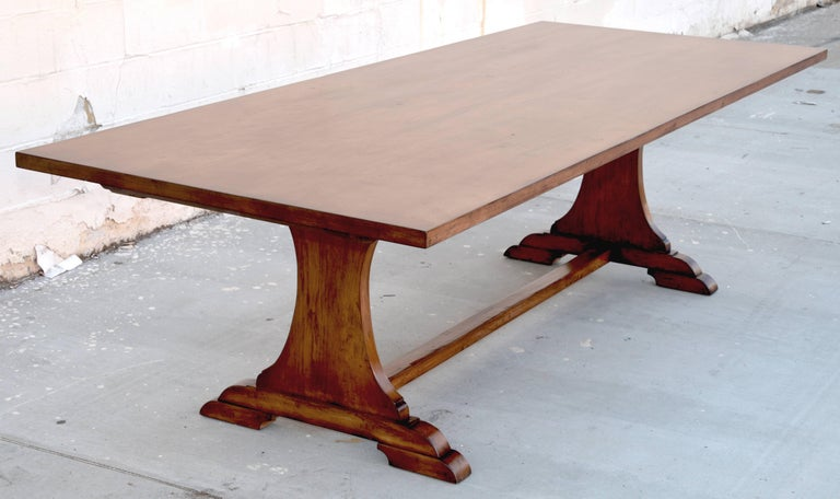 American Custom Dining Table in Dry Aged Walnut with Extensions by Petersen Antiques For Sale