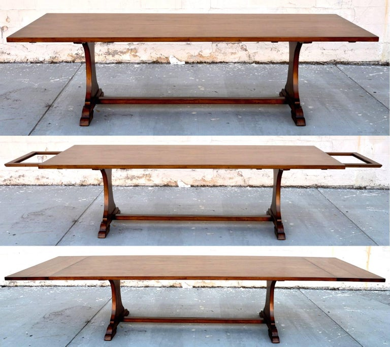 Custom Dining Table in Dry Aged Walnut with Extensions by Petersen Antiques For Sale 1