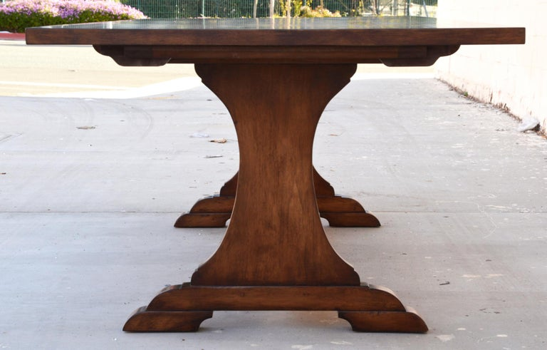 Custom Dining Table in Dry Aged Walnut with Extensions by Petersen Antiques In Excellent Condition For Sale In Los Angeles, CA