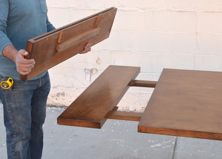 Custom Dining Table in Dry Aged Walnut with Extensions by Petersen Antiques For Sale 4