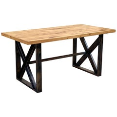 Custom Dining Table with Burnt Golden Patina and Reclaimed Plank Wood Top