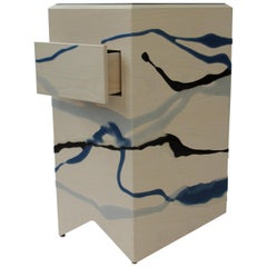 Custom Drip/Fold End Table, Ash Plywood & Resin with Leather top, Pair Available