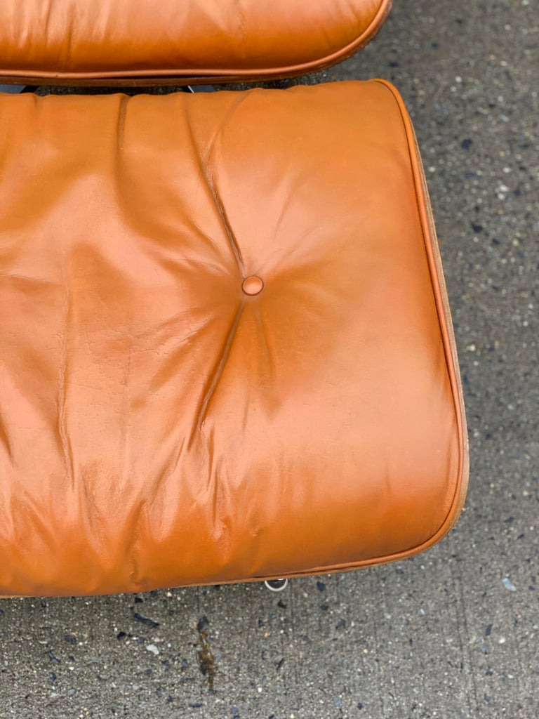 American Custom Eames Lounge Chair and Ottoman in Burnt Orangr For Sale