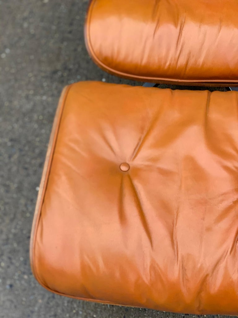 Leather Custom Eames Lounge Chair and Ottoman in Burnt Orangr For Sale