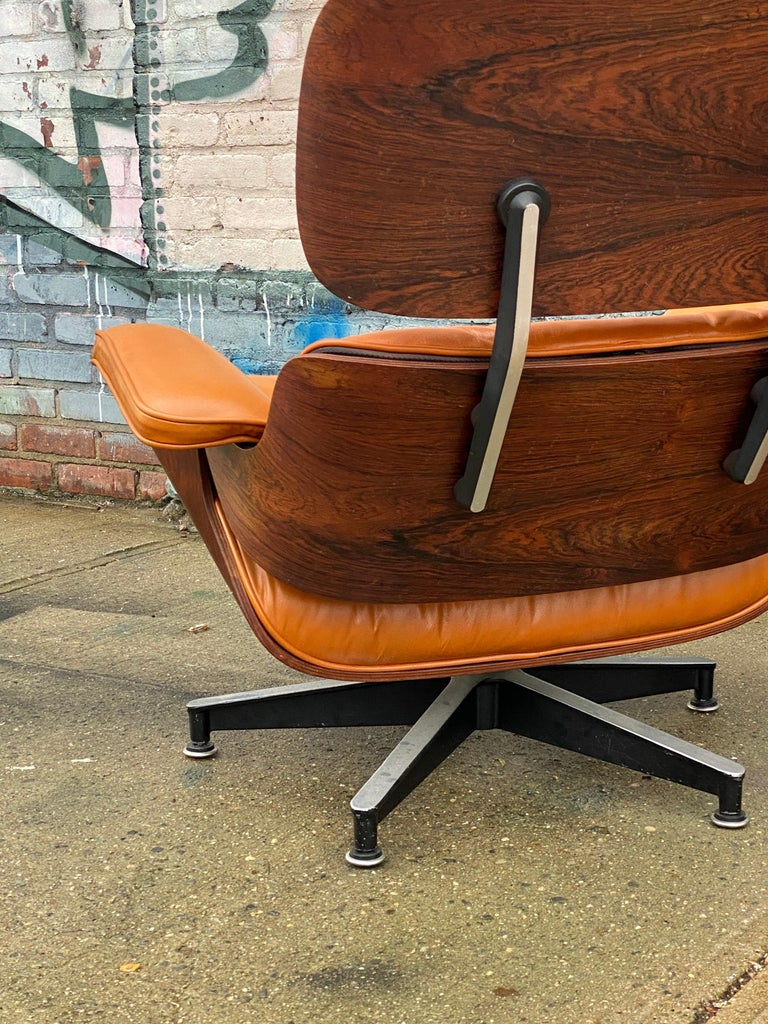 Custom Eames Lounge Chair and Ottoman in Burnt Orangr For Sale 1