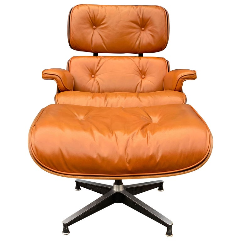 Custom Eames Lounge Chair and Ottoman in Burnt Orangr For Sale