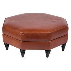 Custom Edelman Leather Hexagonal Ottoman