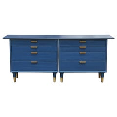 Custom Eight-Drawer Restored Modern Blue Chest or Dresser with Brass Hardware