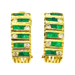 Custom Emerald-Diamond Huggie Earrings, .70 Carat 14 Karat