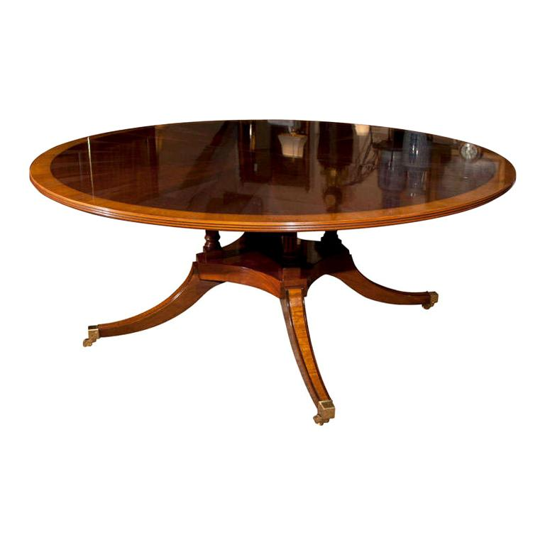 """Custom English 72"""" Diameter Mahogany Starburst Dining Table with Leaf For Sale"""