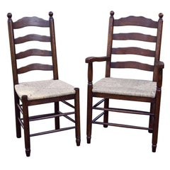 Custom English Bobble Top Ladder Back Side Chairs
