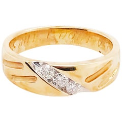 Custom Estate Diamond Wedding Band, 1/4 Ct 14K Yellow Gold, Original Engraving