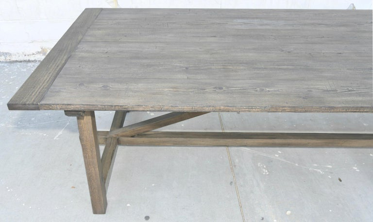 Custom Expandable Dining Table Made from Reclaimed Pine For Sale 2