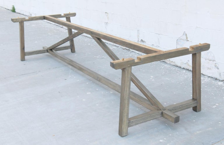 Custom Expandable Dining Table Made from Reclaimed Pine For Sale 5