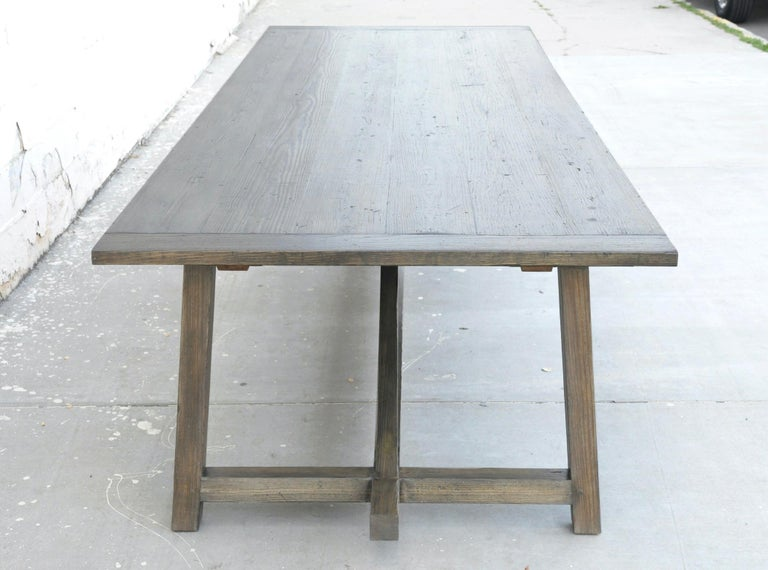 American Custom Expandable Dining Table Made from Reclaimed Pine For Sale