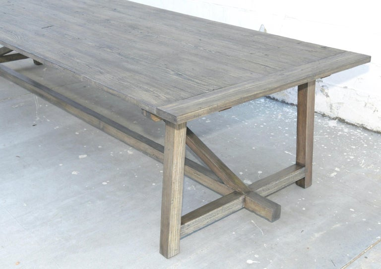 Hand-Crafted Custom Expandable Dining Table Made from Reclaimed Pine For Sale