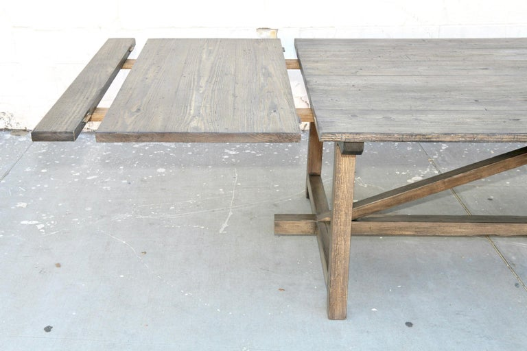 Custom Expandable Dining Table Made from Reclaimed Pine In New Condition For Sale In Los Angeles, CA