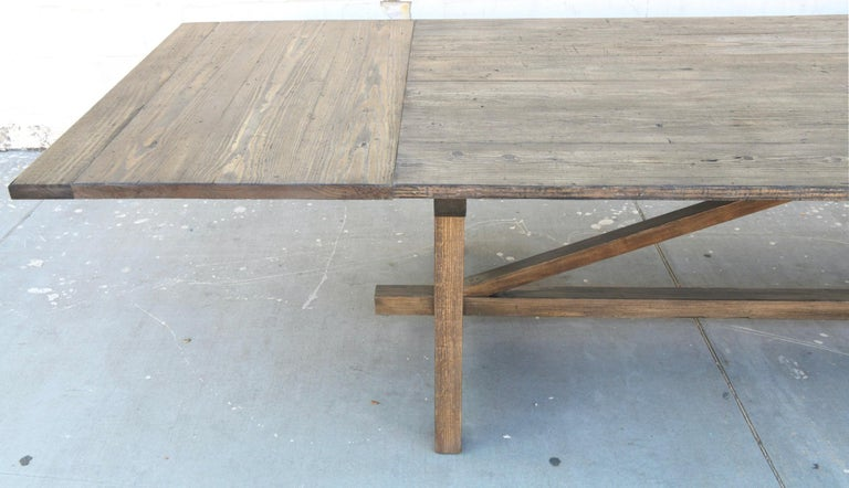 Contemporary Custom Expandable Dining Table Made from Reclaimed Pine For Sale