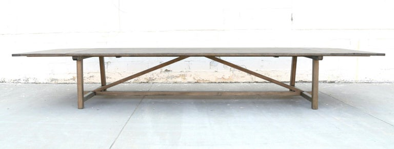 Reclaimed Wood Custom Expandable Dining Table Made from Reclaimed Pine For Sale