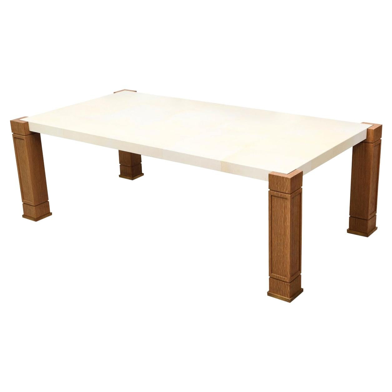 Custom Exquisite Parchment and Cerused Oak Coffee Table