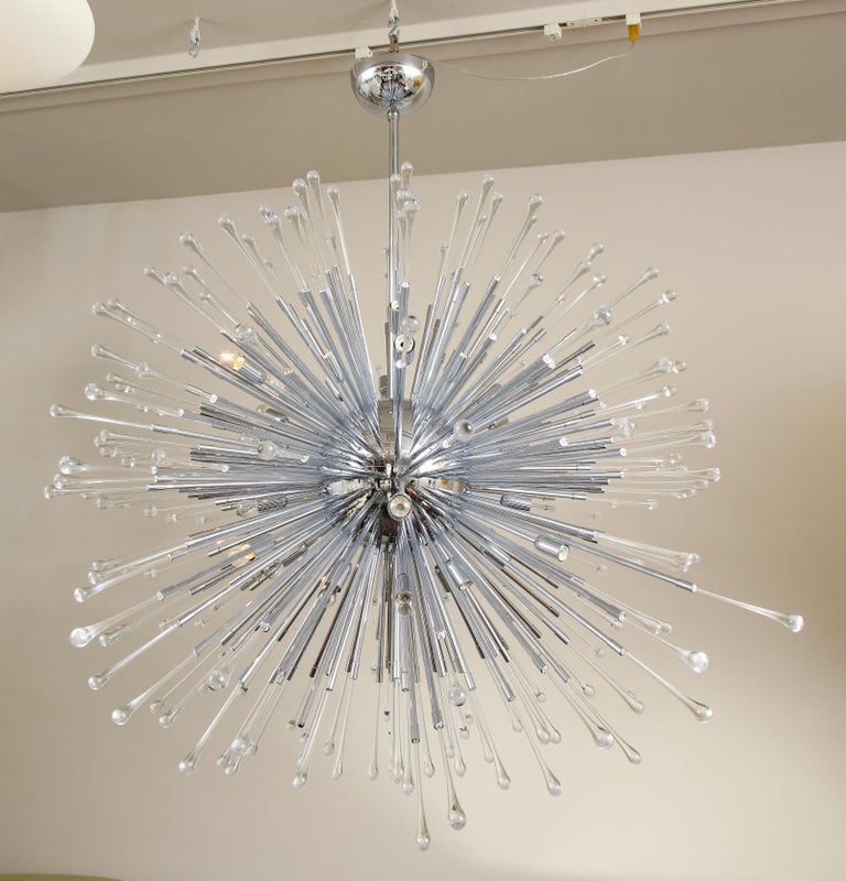 Custom extra large all teardrop Sputnik chandelier in polished chrome. Customization is available in different sizes, glass colors (clear, smoke & amethyst) and finishes. Please specify the overall height you desire for the chandelier upon order. 1