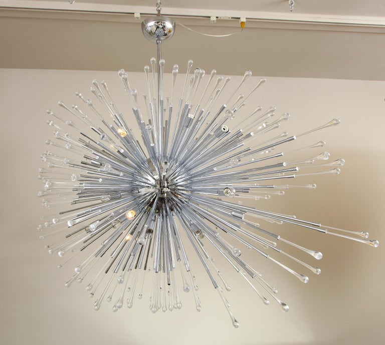 Custom Extra Large All Teardrop Sputnik Chandelier in Polished Chrome In New Condition For Sale In New York, NY