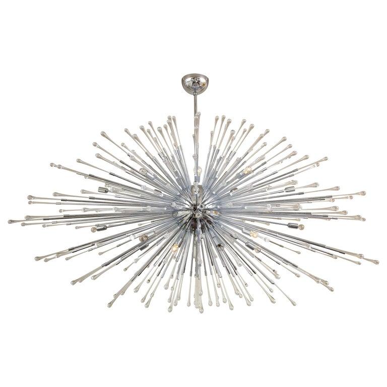 Custom Extra Large All Teardrop Sputnik Chandelier in Polished Chrome For Sale