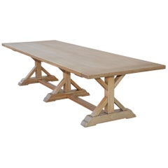 Custom Farm Table in White Oak, Built to Order by Petersen Antiques