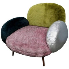 Custom Faux Fur and Leather Green, Pink and Silver Lounge Chair, Adesso Imports