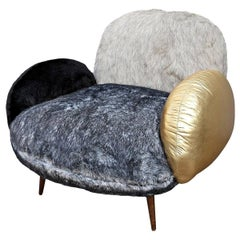 Custom Faux Fur and Leather Grey and Gold Lounge Chair by Adesso Imports