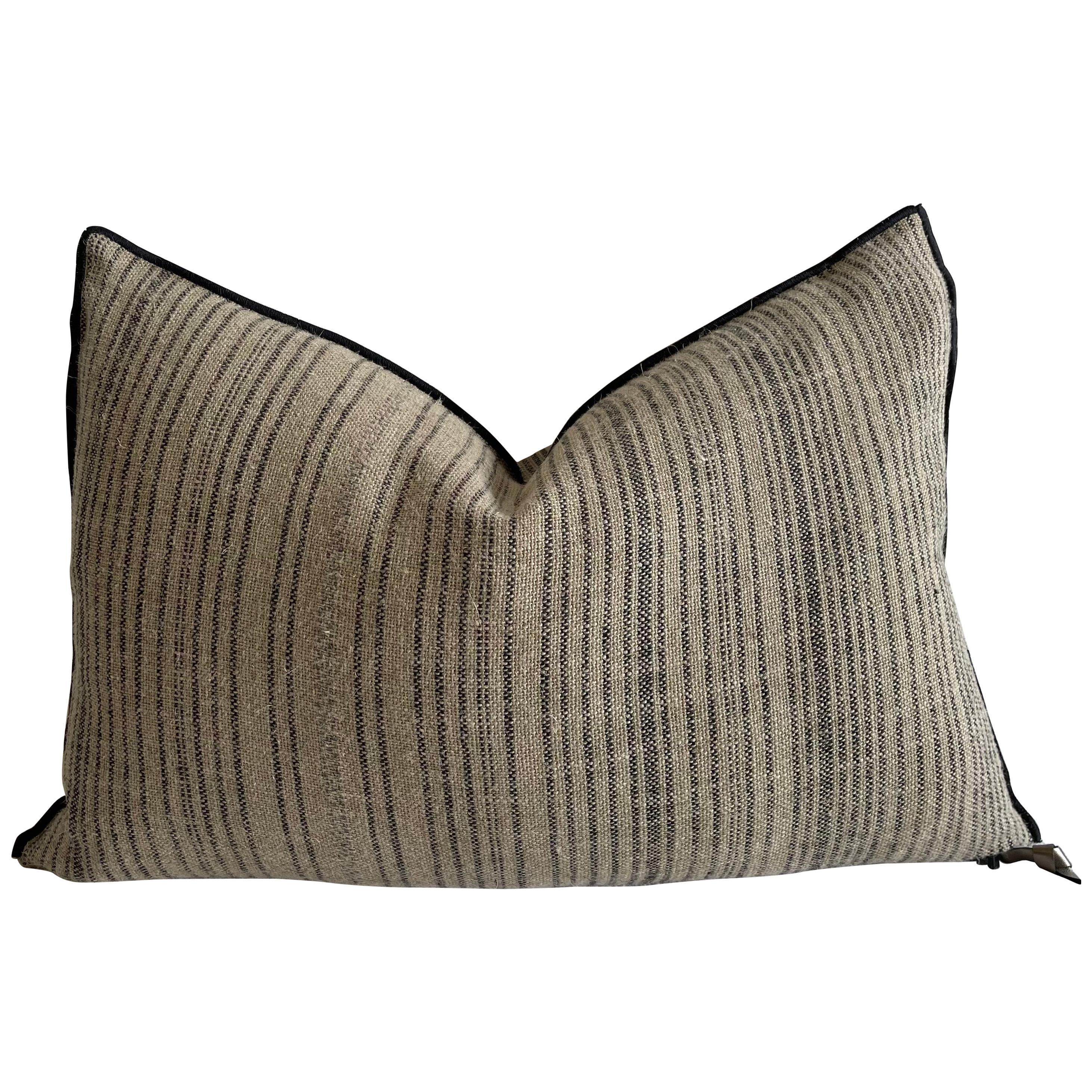 Custom Flax Linen with Black Ticking Stripe Lumbar Pillow