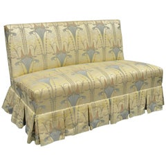 Custom Floral Art Nouveau Fabric Slipper Chair Armless Loveseat Settee Sofa