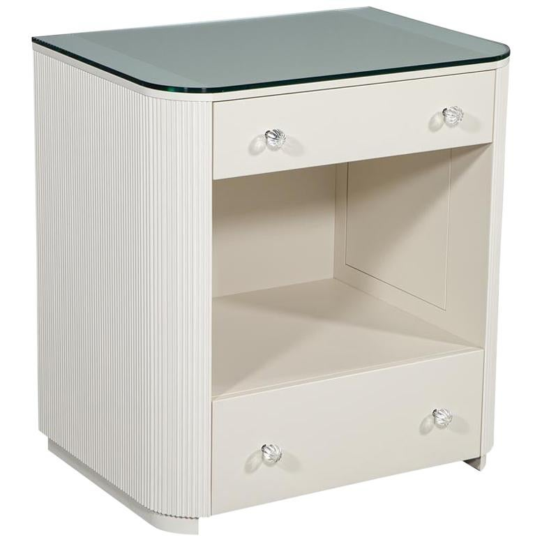 Custom Fluted Cream Bedside Nightstand Table